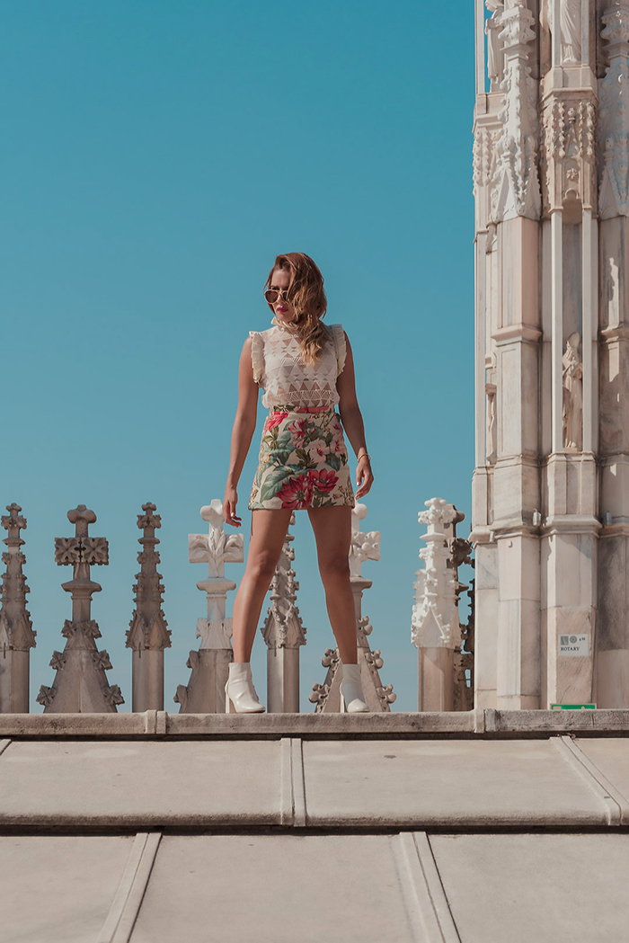 AT THE TOP OF THE DUOMO DI MILANO - TRAVEL PHOTOS MILAN ITALY