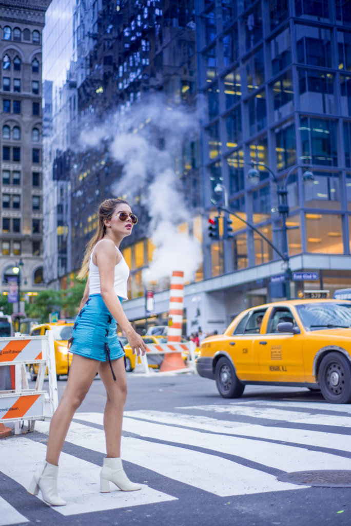 New York Travel Photos in Manhattan of a girl crossing the streets