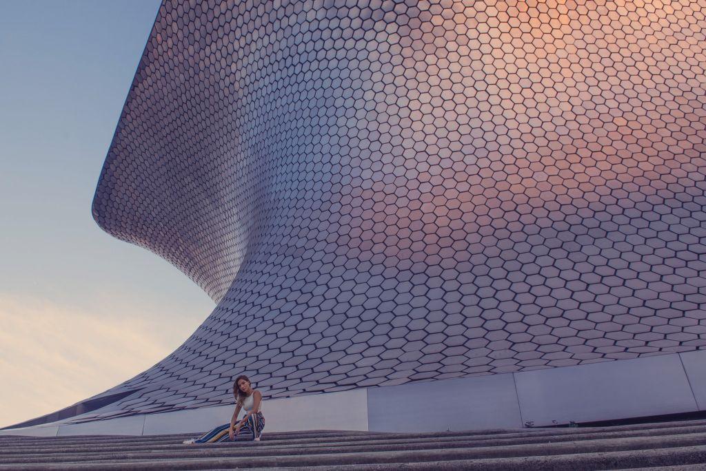 Girl posing at Soumaya Museum Mexico City