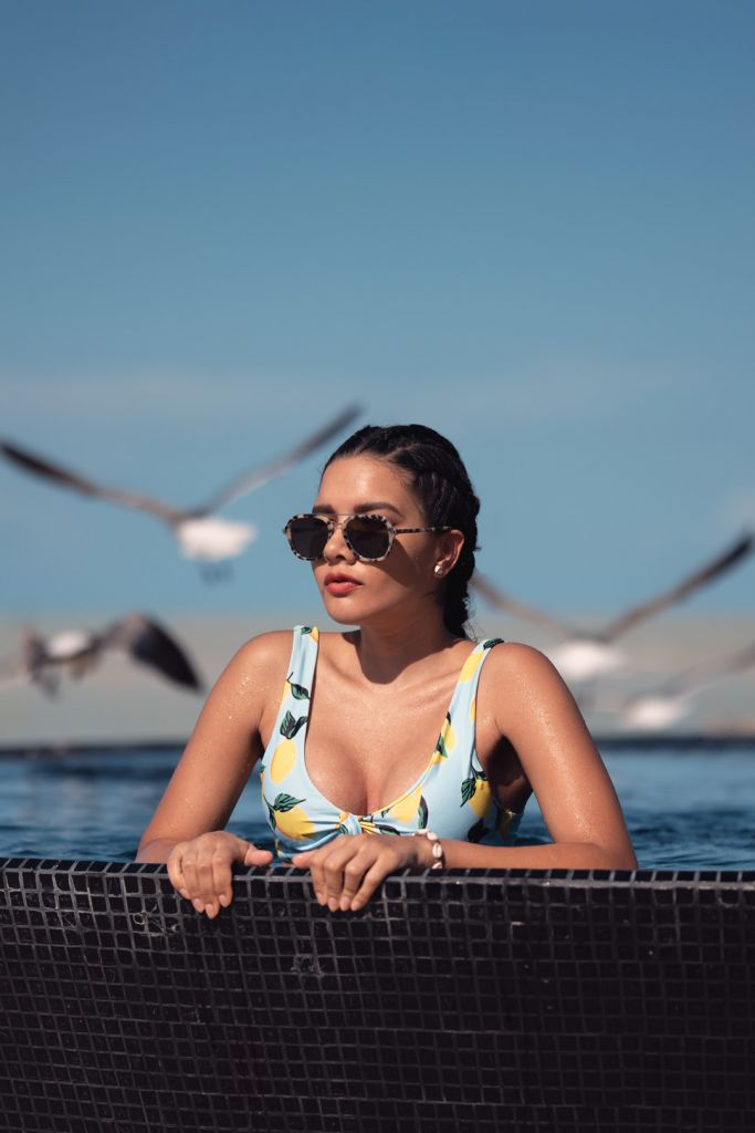 Model photoshoot Pool side in Holbox Island Mexico Travel