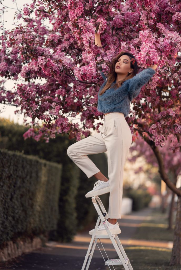 Girl on a ladder touching a pink cherry blossom tree