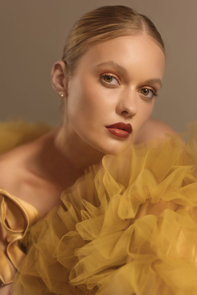 Fashion Editorial Model Alessiya Merzlova - Portrait photo of girl wearing a yellow tulle dress