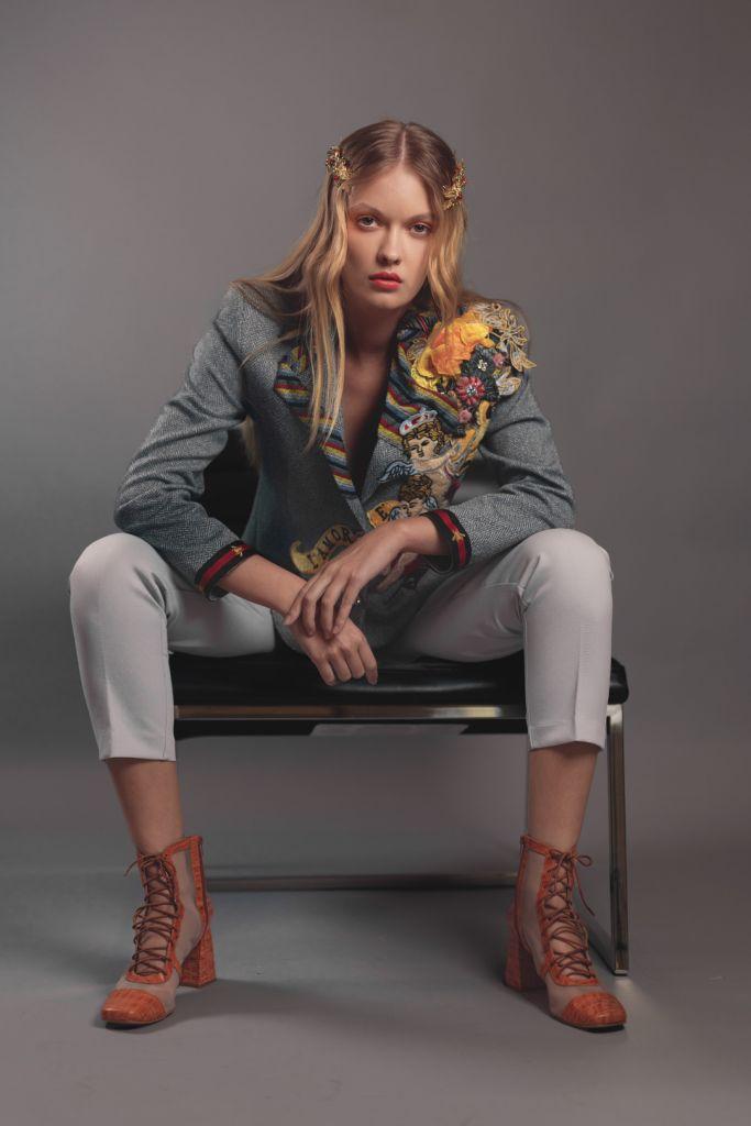 Fashion Editorial Model Alessiya Merzlova - Portrait photo of girl wearing an embroidered jacket